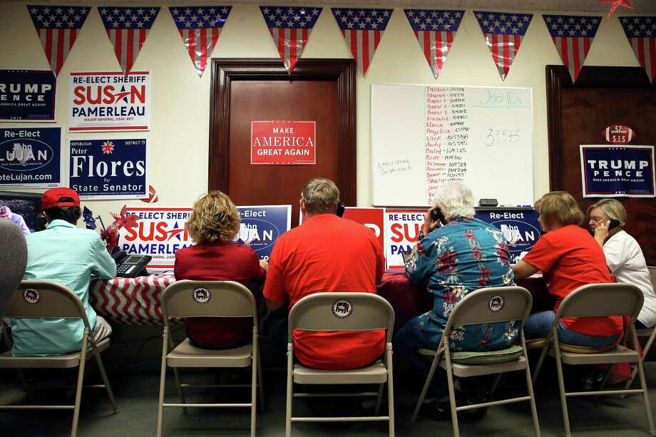 Volunteers stay busy making phone calls and organizing campaign material for candidates at the Bexar County Republican headquarters last week. Photo: Tom Reel, Staff / 2016 SAN ANTONIO EXPRESS-NEWS