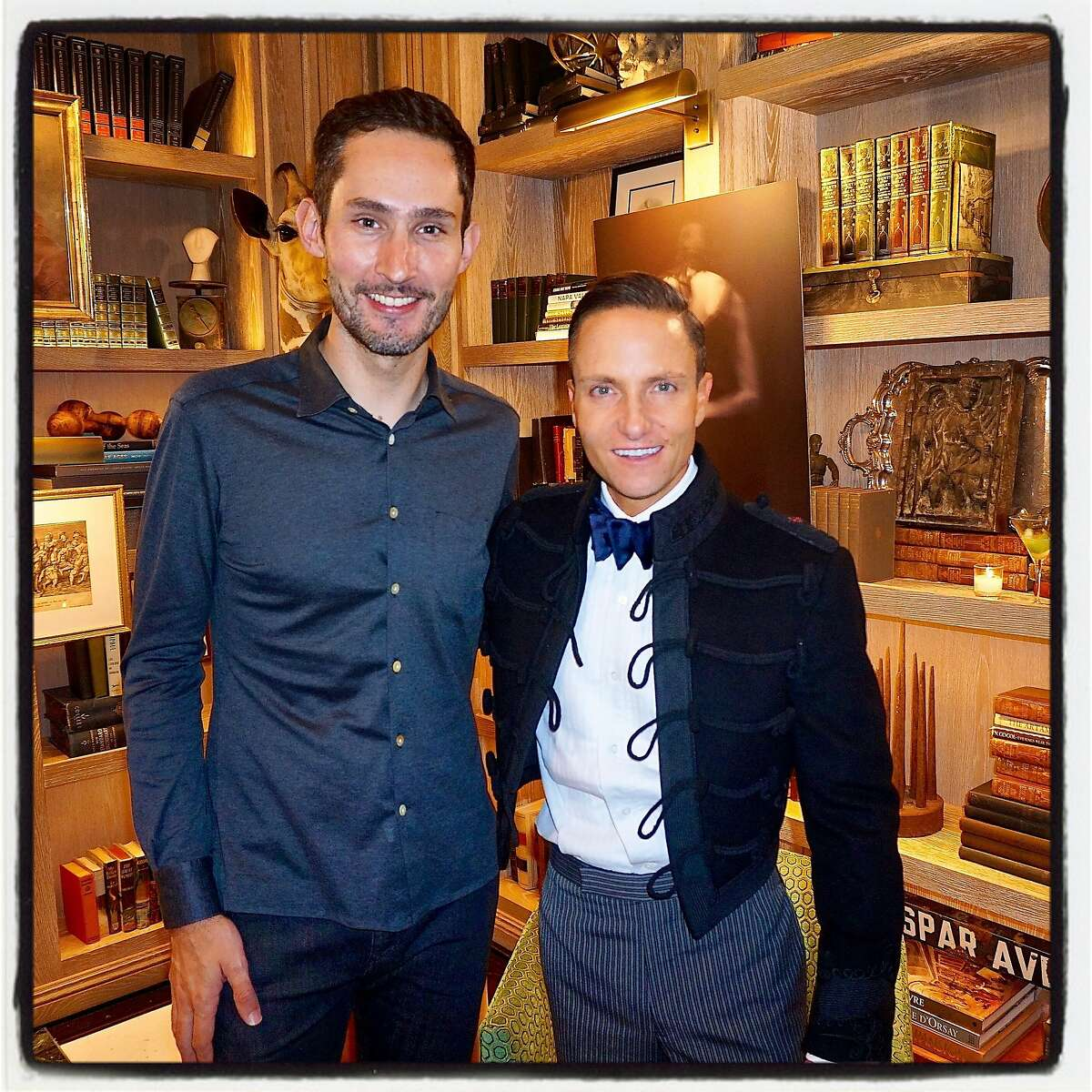 Instagram cofounder Kevin Systrom (left) cohosted a book launch party for designer Ken Fulk at The Harrison. Oct 2016.