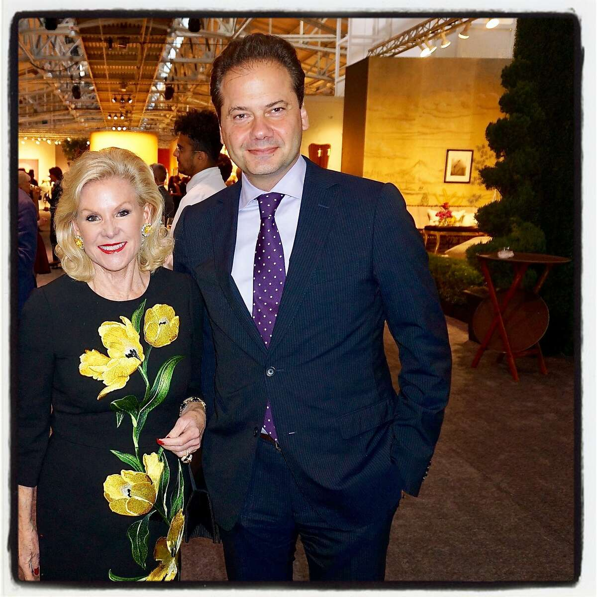 SFAAS Benefactor chairwoman Dede Wilsey and FAMSF Director Max Hollein at the Antiques Show. Oct. 2016.