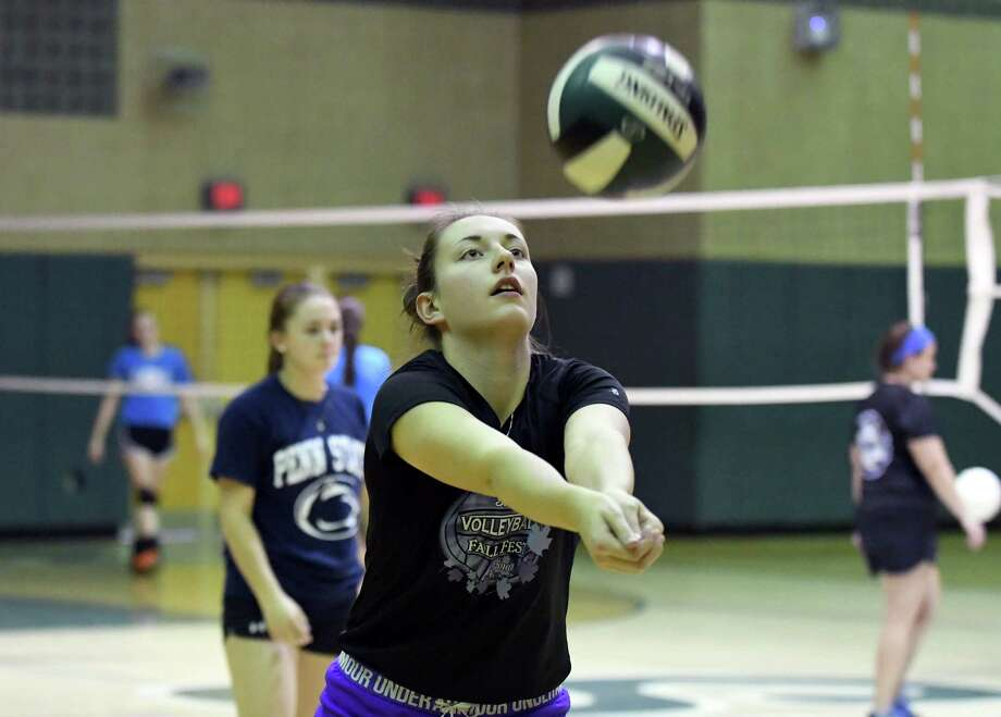 Shenendehowa High school volleyball player Nicole Adams during practice on Tuesday Oct. 18, 2016 in Clifton Park , N.Y.  (Michael P. Farrell/Times Union) Photo: Michael P. Farrell / 20038446A
