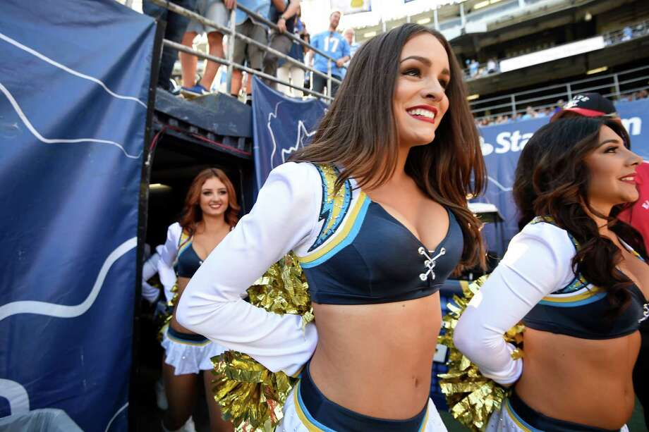 San Diego Chargers cheerleaders perform before an NFL football game between the San Diego Chargers and the Tennessee Titans Sunday, Nov. 6, 2016, in San Diego. (AP Photo/Denis Poroy) Photo: Denis Poroy, Associated Press / FR59680 AP