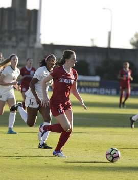 Andi Sullivan, Stanford Cardinals midfielder, moves the ball up the field in a game against the California Golden Bears on Friday, November 4,   2016 in Berkeley, Calif.