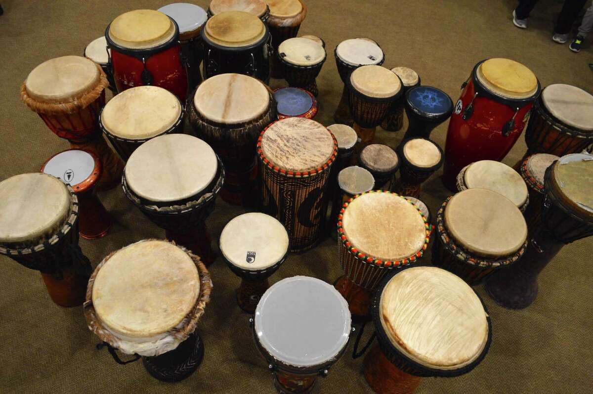 The tools of rhythm ready for action at the Family Drum Circle held at New Canaan Library Saturday, Nov. 5, 2016, in New Canaan, Conn.