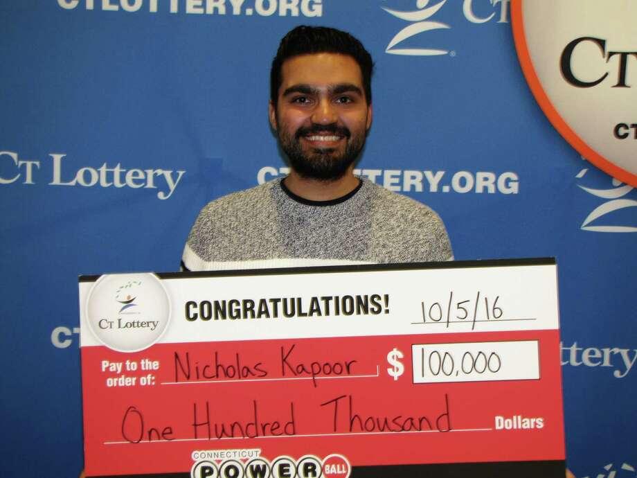 Nicholas Kapoor of Monroe won $100,000 playing Powerball Photo: Contributed Photo /