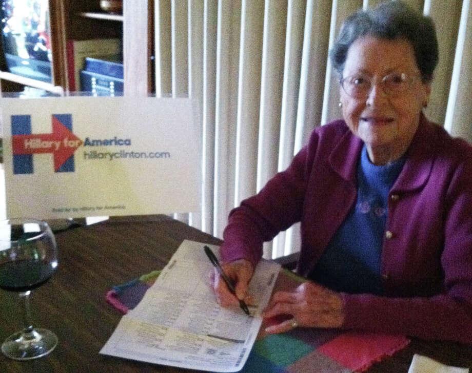 Edith Davis-Goodwin, 98, proudly votes for Hillary Clinton via an absentee ballot. Photo: Courtesy Edith Davis-Goodwin