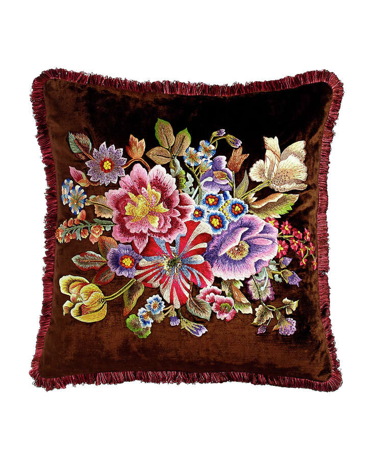 Jay Strongwater 20-inch pillow, plush velvet with silk embroidery