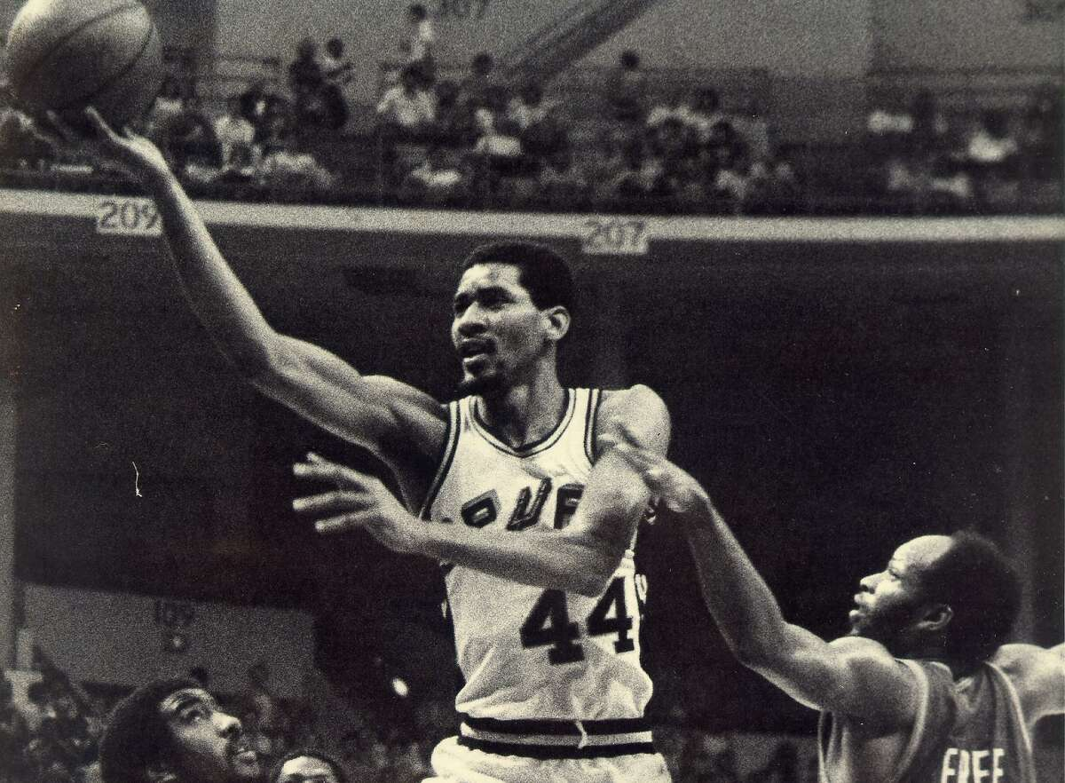 George Gervin lays up a finger roll at HemisFair Arena.