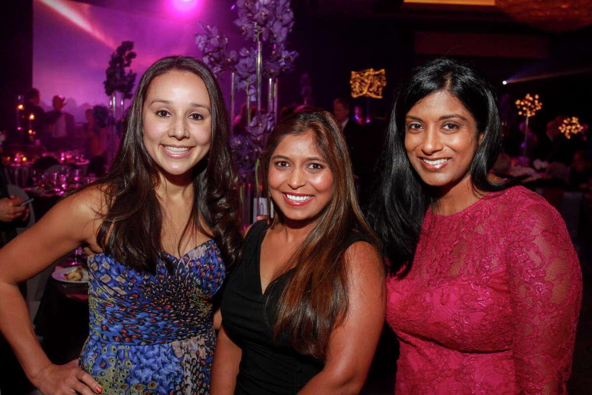 Monica Guzman-Limon, from left, Sonal Bhatnagar and Joyce Samuel at the Constellation gala. (For the Chronicle/Gary Fountain, November 4, 2016)