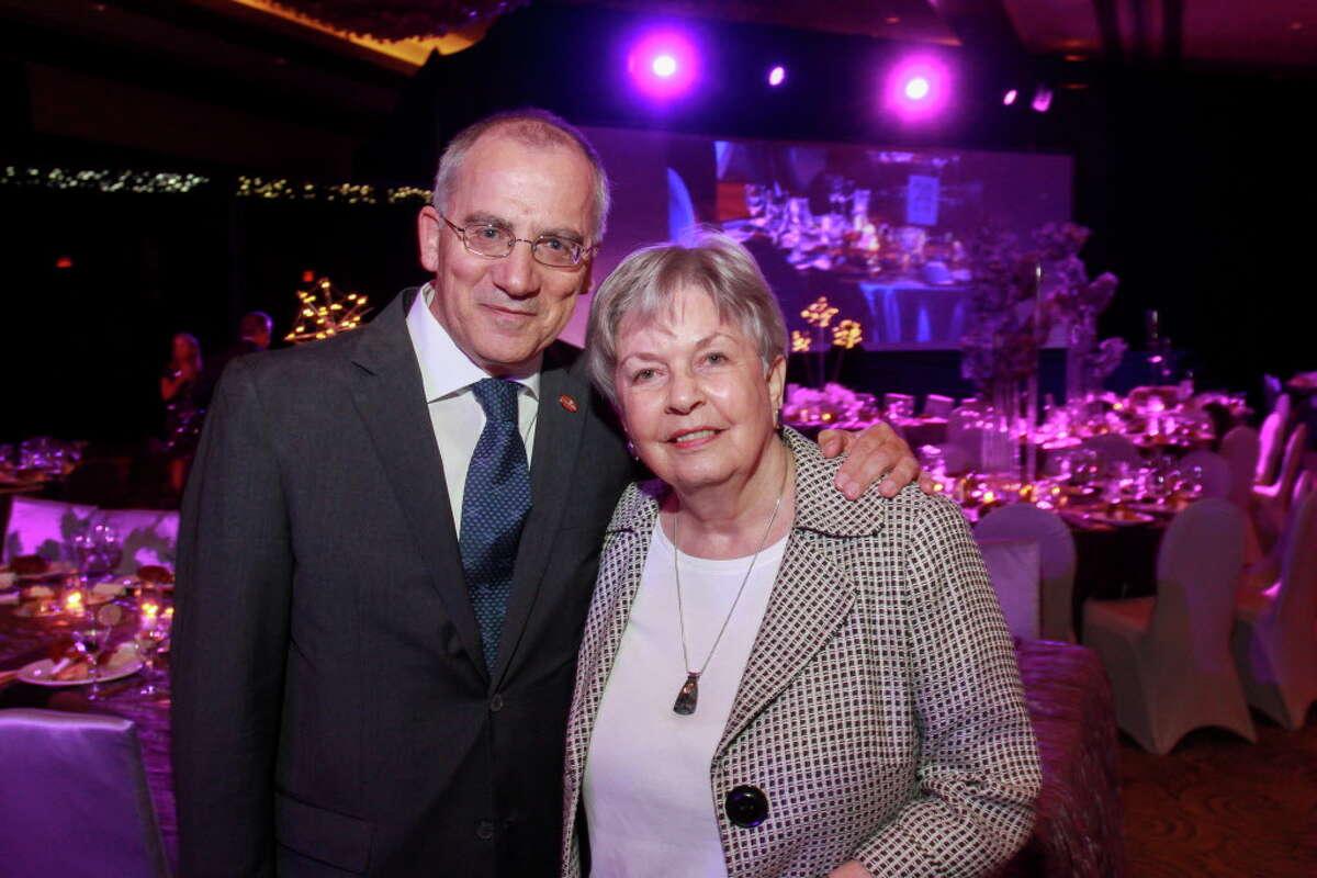 UT Health president Dr. Giuseppe Colasurdo and gala honoree Kathrine McGovern at the Constellation gala. (For the Chronicle/Gary Fountain, November 4, 2016)