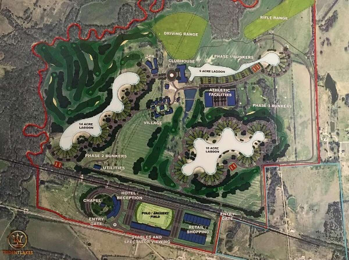Trident Lakes is an upscale-community north Texas community that is in development. Country clubs, an 18-hole golf club and approximately 400 condos are planned, as well as bunkers in cases of emergency.
