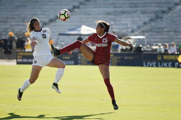Arielle Ship (l to r) and Alana Cook (right) go after the ball during the the Stanford Cardinals versus California Golden Bears game on Friday, November 4, 2016 in Berkeley, Calif.