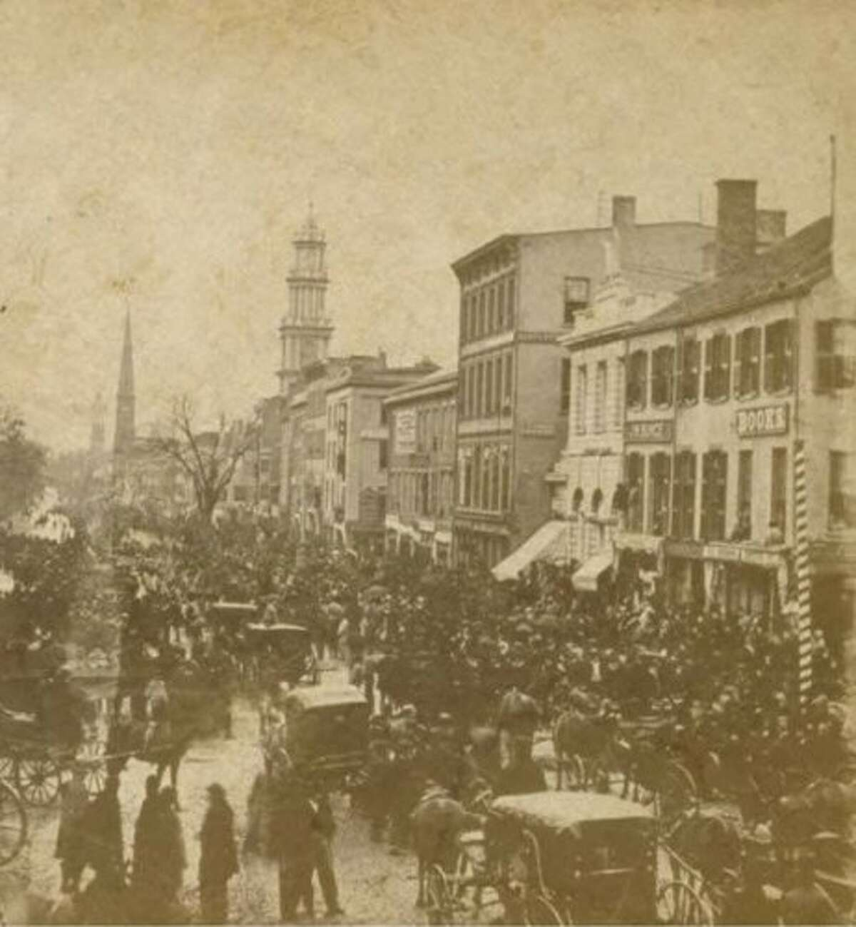 Election day on Main Street in Hartford back in 1867. Election Cake was a celebrated dish during local and national elections in Connecticut.