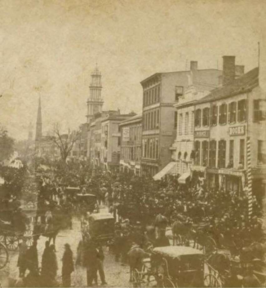 Election day on Main Street in Hartford back in 1867. Election Cake was a celebrated dish during local and national elections in Connecticut. Photo: Contributed: Connecticut Historical Society