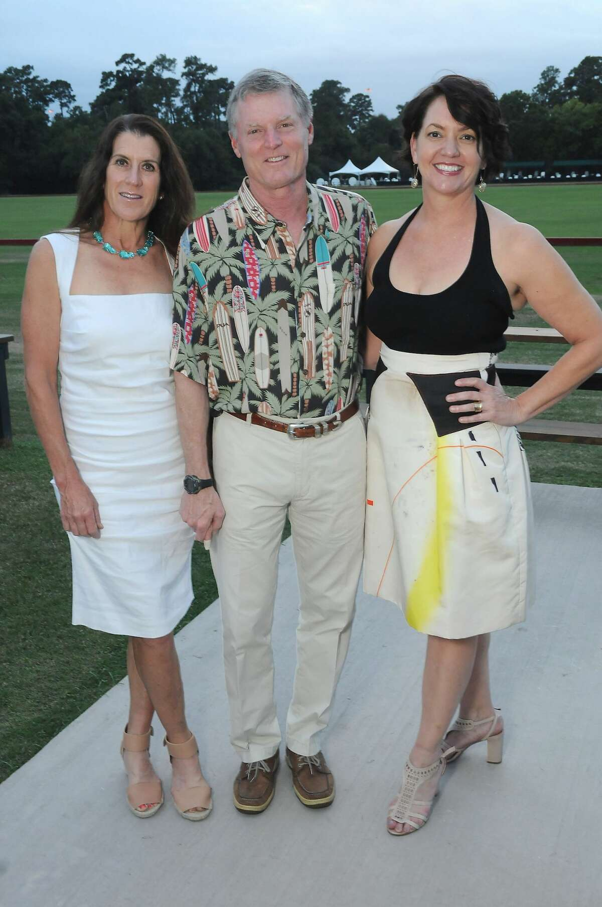 From left: Chairs Kate and Steve Gibson with Laura Huffman at The Nature Conservancy's Toast the Coast event at the Houston Polo Club Thursday Nov. 03,2016.(Dave Rossman photo)