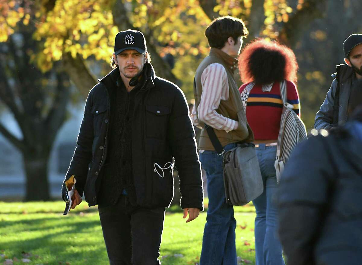 """Actor and filmmaker James Franco, left, is seen directing his movie, """"The Pretenders,"""" on the campus of Union College on Monday, Nov. 7, 2016 in Schenectady, N.Y. (Lori Van Buren / Times Union)"""