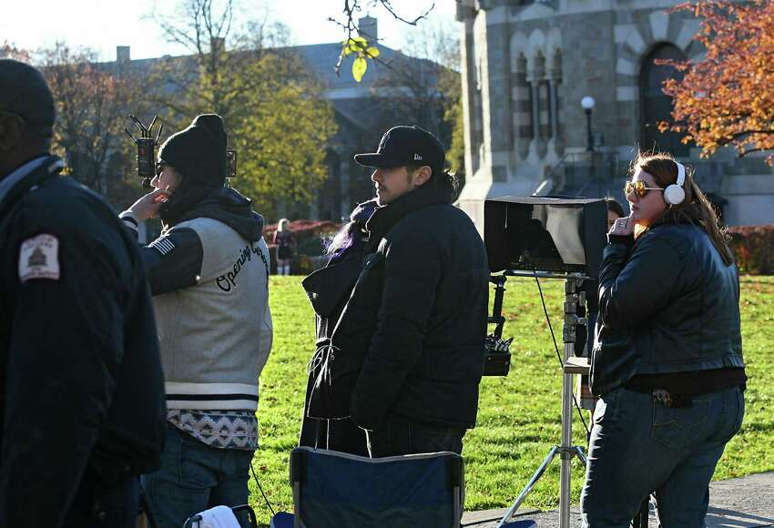 Actor and filmmaker James Franco, center, is seen directing his movie,