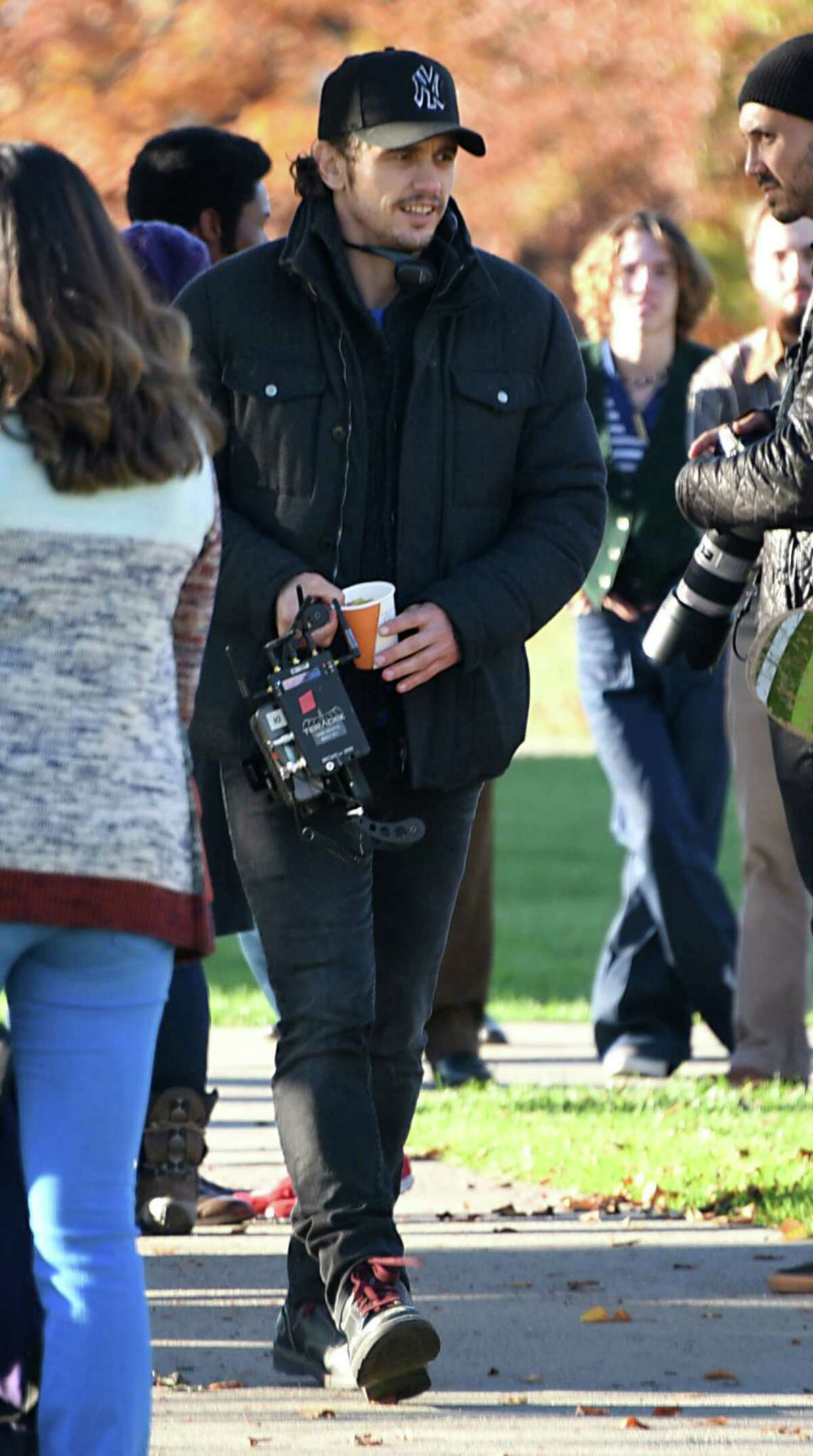 Actor and filmmaker James Franco is seen directing his movie,