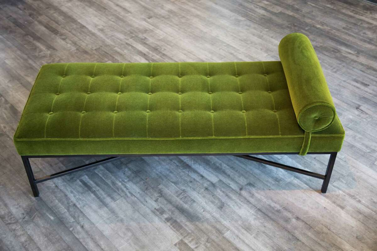 Oly Studio made its Jonathan Lounge with graceful tufting and lily-pad-green mohair for a statement piece suitable for every home.
