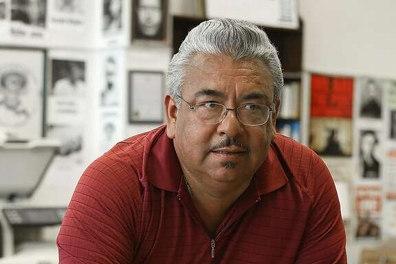Andres Soto talks about Richmond rents in his office in downtown Richmond, Calif., on Monday, July 27, 2015.  Soto founded Richmond Progressive Alliance 10 years ago leading the campaign for rent control intending to shield  longtime residents from displacement.