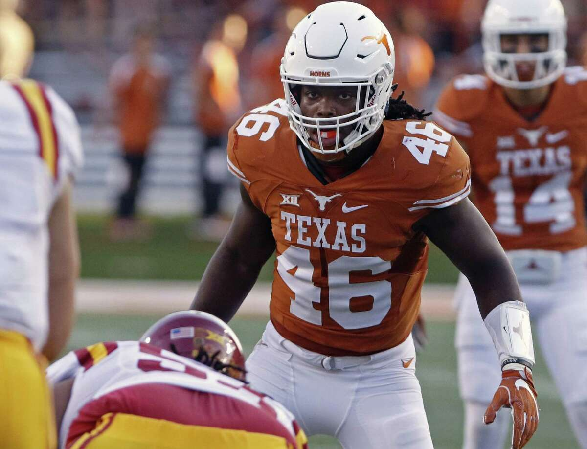 Texas' Malik Jefferson prepares for a play during the first half against Iowa State on Oct. 15, 2016, in Austin.