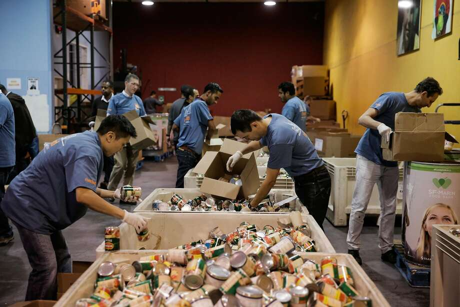 Riverbed employees volunteer at the SF Marin Food Bank, in San Francisco, California, on Monday, Nov. 7, 2016. Photo: Gabrielle Lurie, The Chronicle