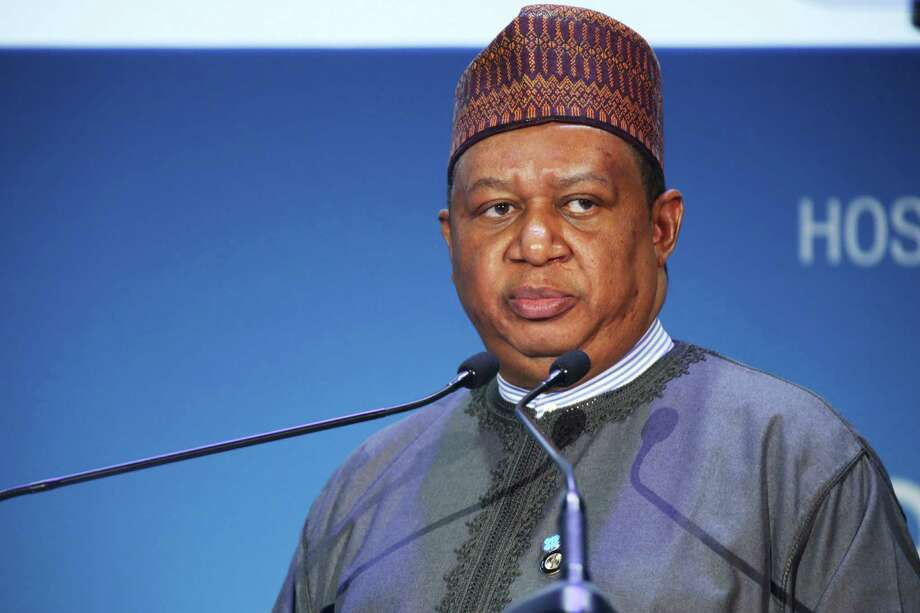 OPEC Secretary-General Mohammad Sanusi Barkindo of Nigeria gives a speech at the annual Abu Dhabi International Petroleum Exhibition & Conference in Abu Dhabi, United Arab Emirates, on Monday, Nov. 7, 2016. Those attending the conference this week remain worried about low global oil prices. (AP Photo/Jon Gambrell) ORG XMIT: WPJG102 Photo: Jon Gambrell / Copyright 2016 The Associated Press. All rights reserved.
