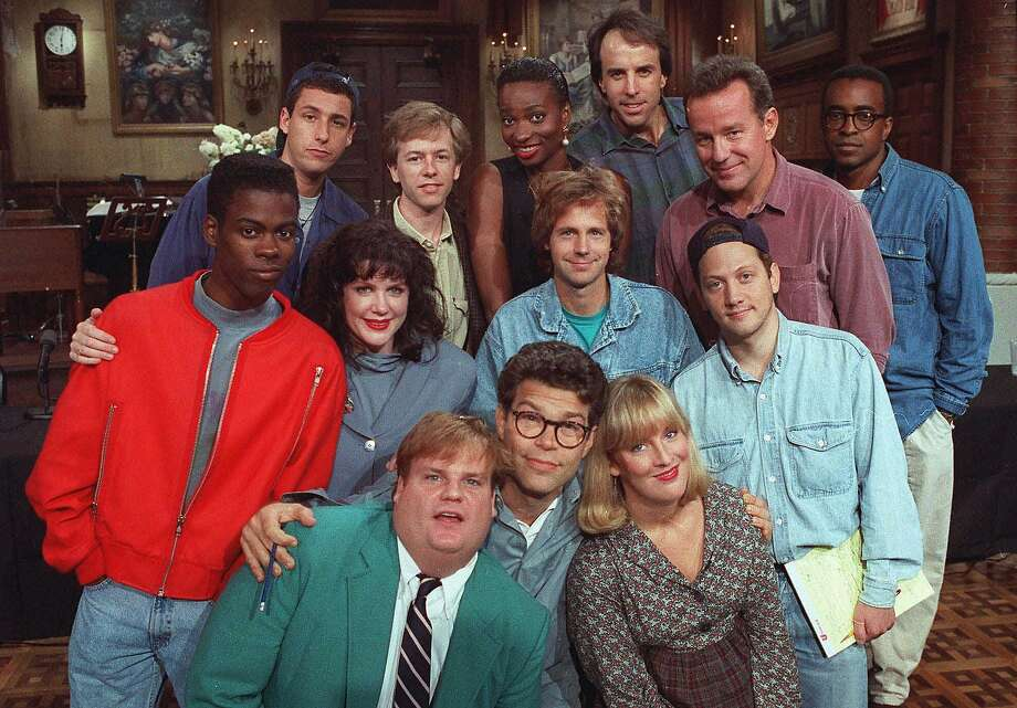 "Rob Schneider poses with the rest of the ""Saturday Night Live"" cast in 1992. Photo: JUSTIN SUTCLIFFE, AP"