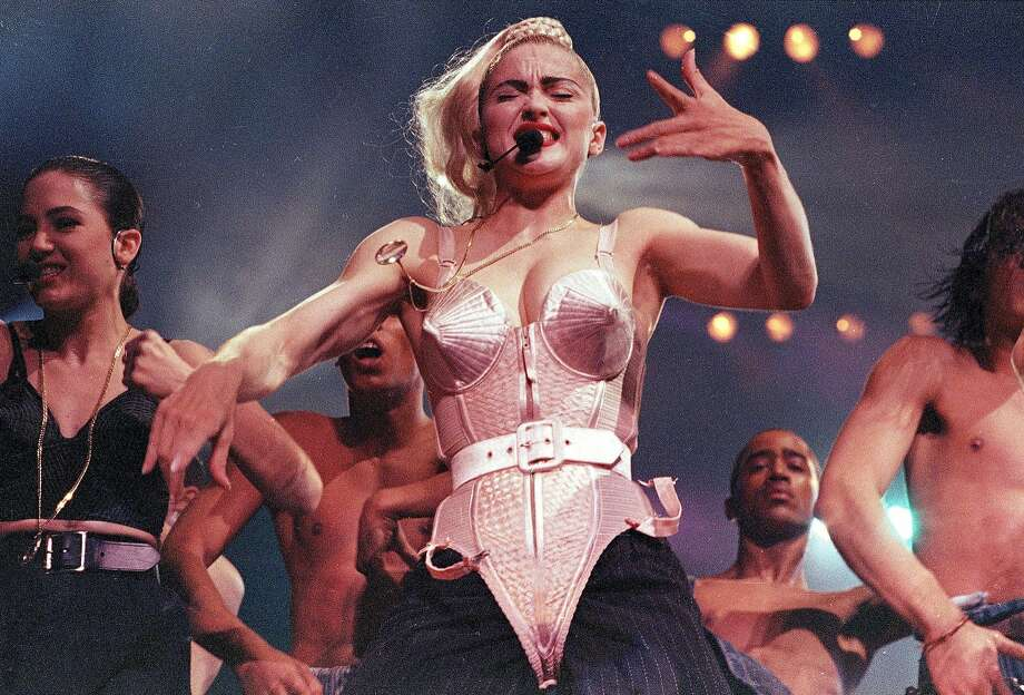 Madonna performs wearing weaponized lingerie in 1990. Photo: SANDY HILL, ASSOCIATED PRESS