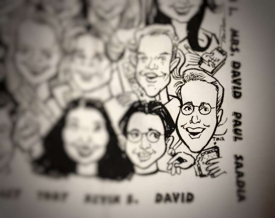 """David Fahrenthold, as seen on a mid-'90s staff T-shirt for the Memorial """"Anvil."""" Photo: Lisa Gray, Houston Chronicle"""