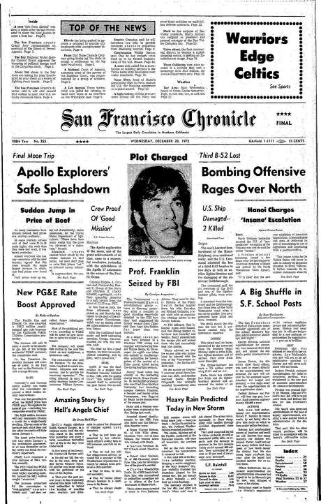 The Chronicle's front page from Dec. 20, 1972, covers a Hells Angel murder trial. Photo: The Chronicle 1972