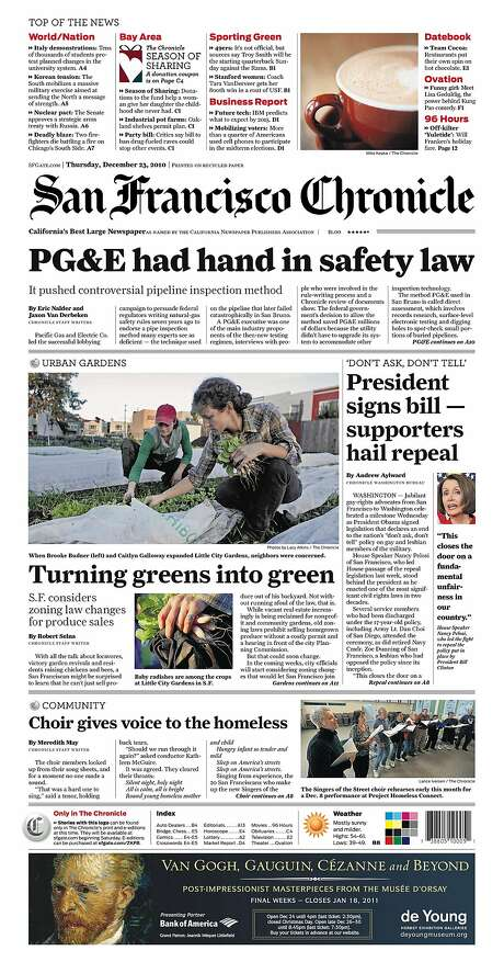 """The Chronicle's front page from Dec. 23, 2010, covers the end of the U.S. military's """"Don't Ask, Don't Tell"""" policy. Photo: The Chronicle 2010"""