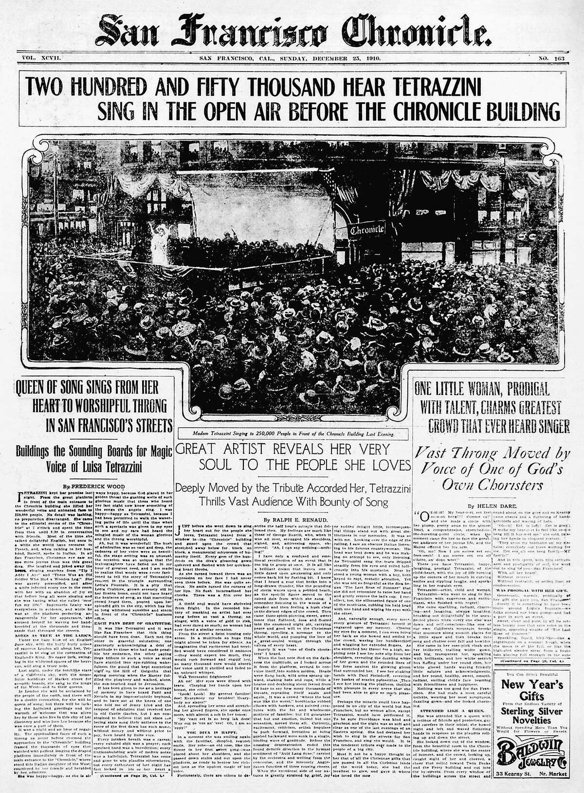The Chronicle's front page after opera singer Luisa Tetrazzini sang to an estimated 250,000 to 300,000 people on Dec. 24, 1910.