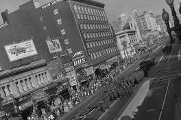 Armistice Day, by 1956 called Veteran's Day, celebrated with a parade down Market Street in San Francisco, November 11, 1956