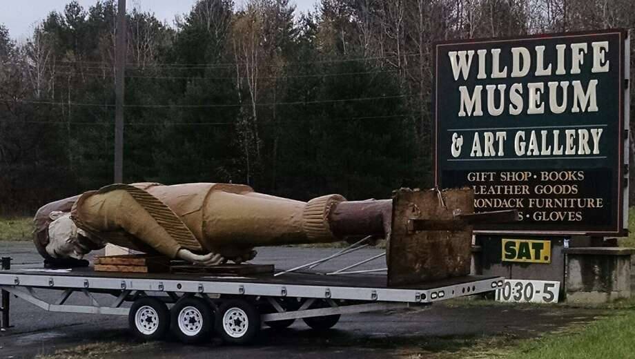 The old Alvord's House of Leather statue has pulled up stakes and is now at the Wildlife Museum & Art Gallery in Vails Mills, Fulton County. (Tim Blydenburgh / Times Union)