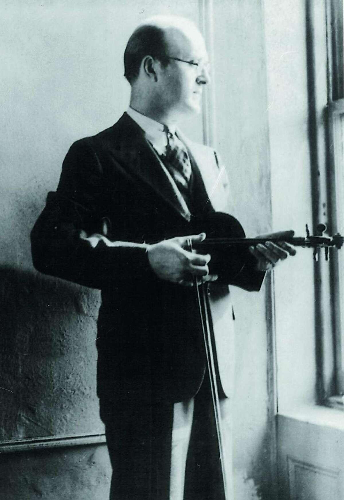 Abraham Zapruder with his violin, New York, circa late 1920s.