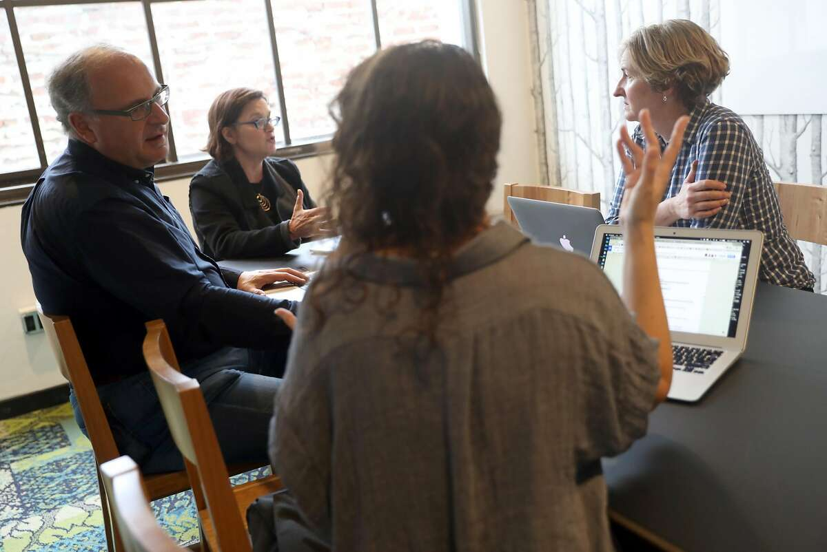 (left to right) Lance Knobel, Frances Dinkelspiel, Emilie Raguso and Tracey Taylor during budget meeting at Berkeleyside independent news organization headquarters in Berkeley, Calif., on Monday, November 7, 2016.