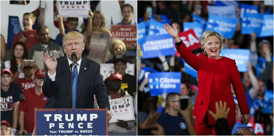 Donald Trump and Hillary Clinton were busy stumping on Nov. 7, 2016. Right: Democratic presidential candidate Hillary Clinton arrives at a campaign rally at Grand Valley State University in Allendale, Mich. (AP Photo/Paul Sancya) Republican presidential candidate Donald Trump speaks during a rally at the J.S. Dorton Arena in Raleigh, NC. (Mandel Ngan/AFP/Getty Images)