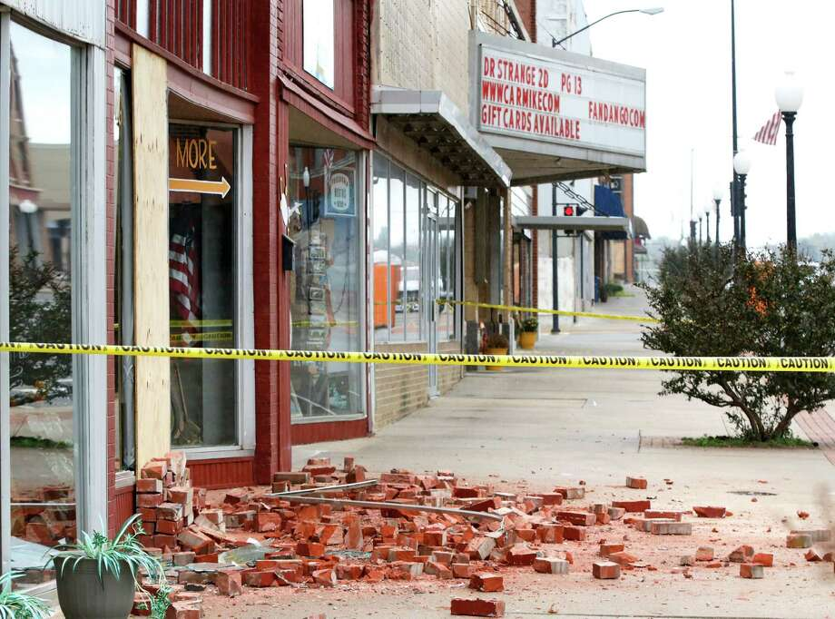 Damage in Cushing, Okla., included cracks to buildings and fallen bricks. Officials said no damage had been reported at the Cushing oil terminal.  Photo: Jim Beckel, MBI / The Oklahoman
