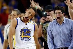 Golden State Warriors' Stephen Curry celebrates his 13th 3-pointer of the game during Warriors' 116-106 win over New Orleans Pelicans during NBA game at Oracle Arena in Oakland, Calif., on Monday, November 7, 2016.