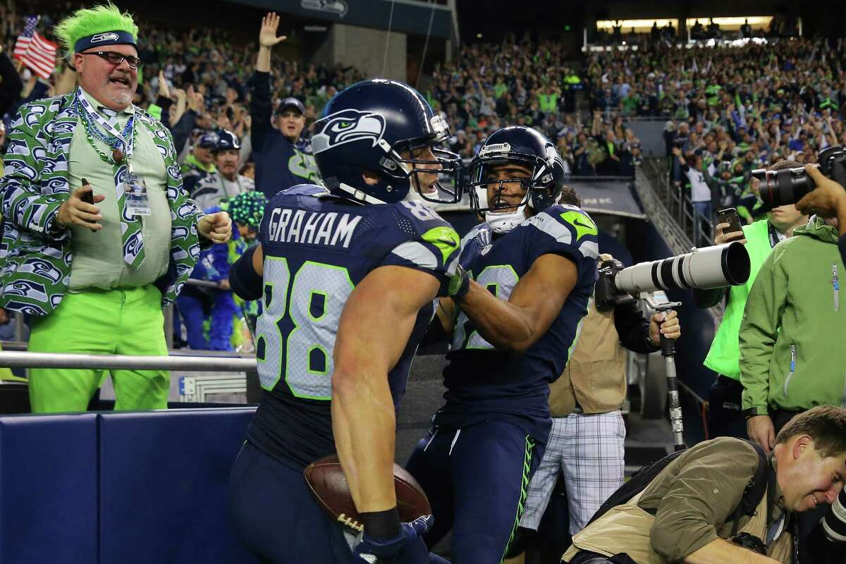 Seahawks tight end Jimmy Graham and Seahawks wide receiver Doug Baldwin celebrate Graham's touchdown, during the second quarter of the start of Seattle's game against Buffalo, Monday, Nov. 7, 2016 at CenturyLink Field.