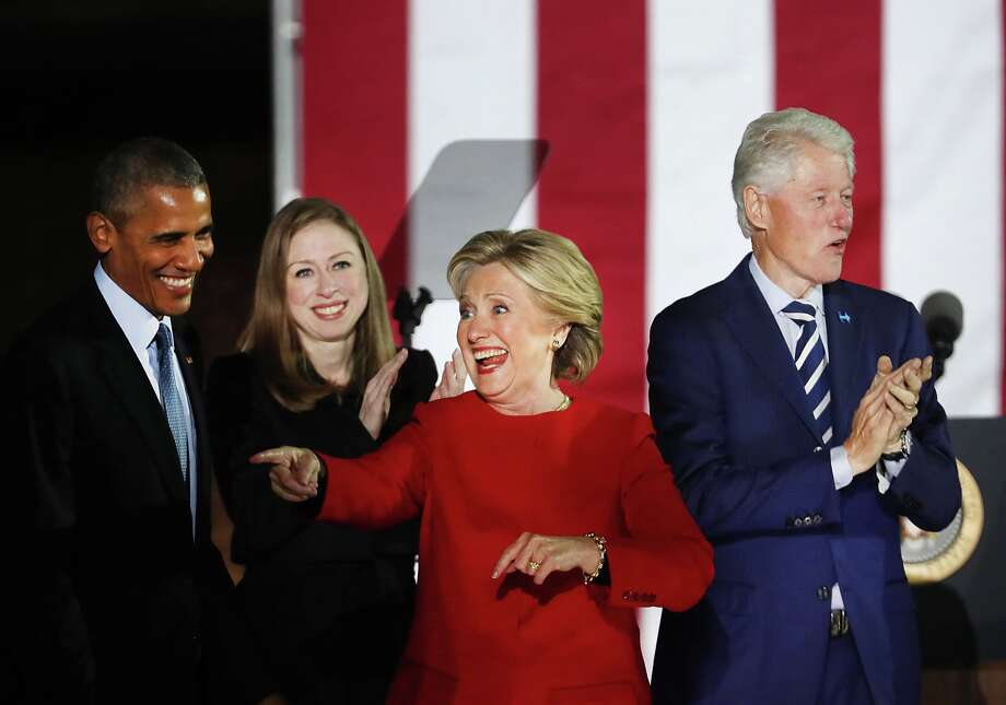 Democratic presidential nominee former Secretary of State Hillary Clinton stands with President Barack Obama, former President Bill Clinton and daughter Chelsea during an election eve rally on November 7, 2016 in Philadelphia, Pennsylvania. As the historic race for the presidency of the United States comes to a conclusion, both Clinton and her rival Donald Trump are making their last appearances before voting begins tomorrow.  (Photo by Spencer Platt/Getty Images) Photo: Spencer Platt/Getty Images