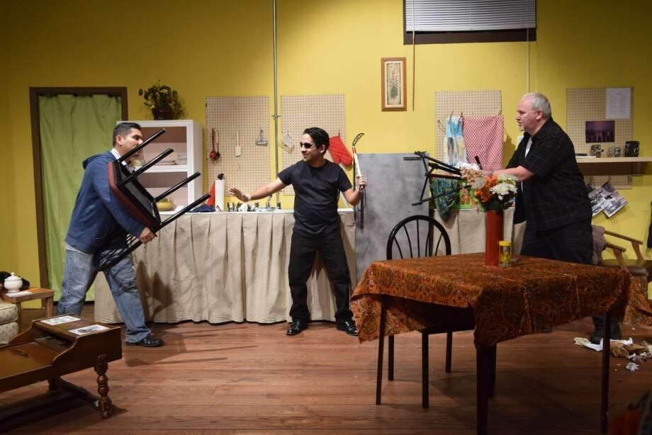 "Tempers flare between criminals played by Robert McKenzie, Daniel Partida and Felipe Bautista in Bay Area Harbour Playhouse's production of ""Wait Until Dark."""