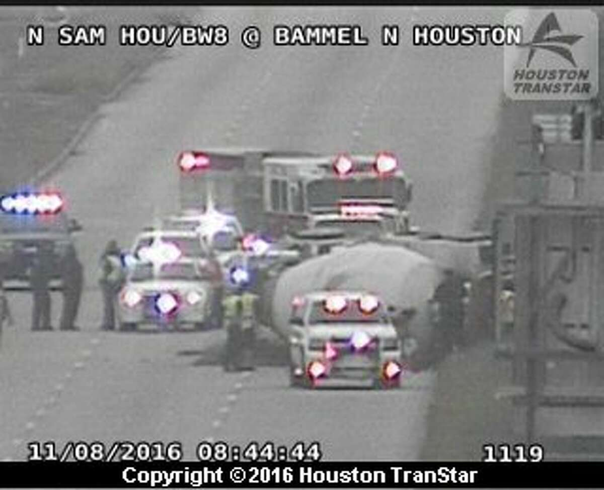 Traffic was snarled on portions of the Sam Houston Parkway frontage road near Antoine after a cement truck overturned about 8:30 a.m. Tuesday, Nov. 8, 2016, in north Harris County. (Houston TranStar)
