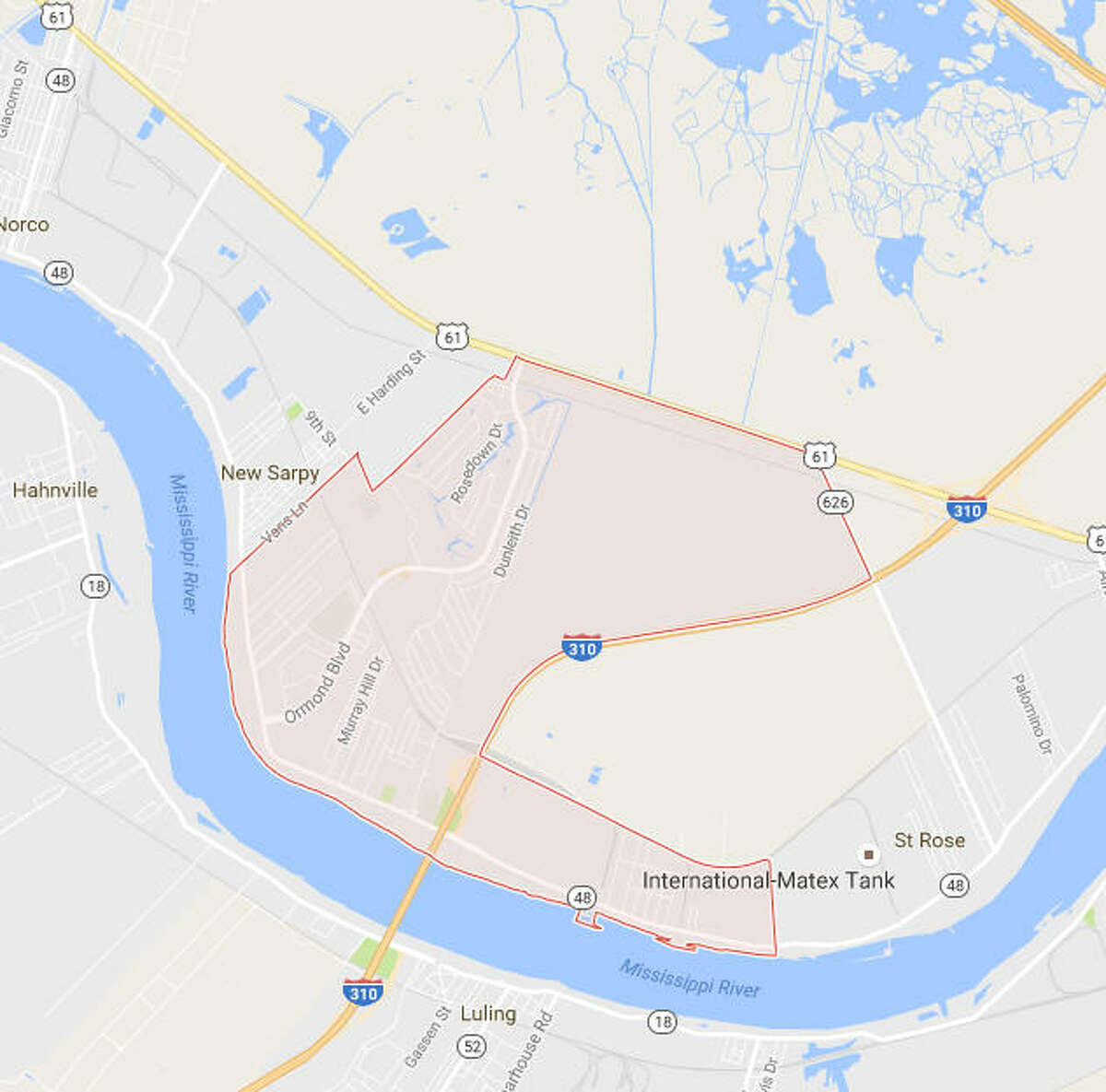 A map of Destrehan, La., about 30 minutes west of New Orleans. Caitlin Marie Verret, 22, was last seen there Nov. 2.