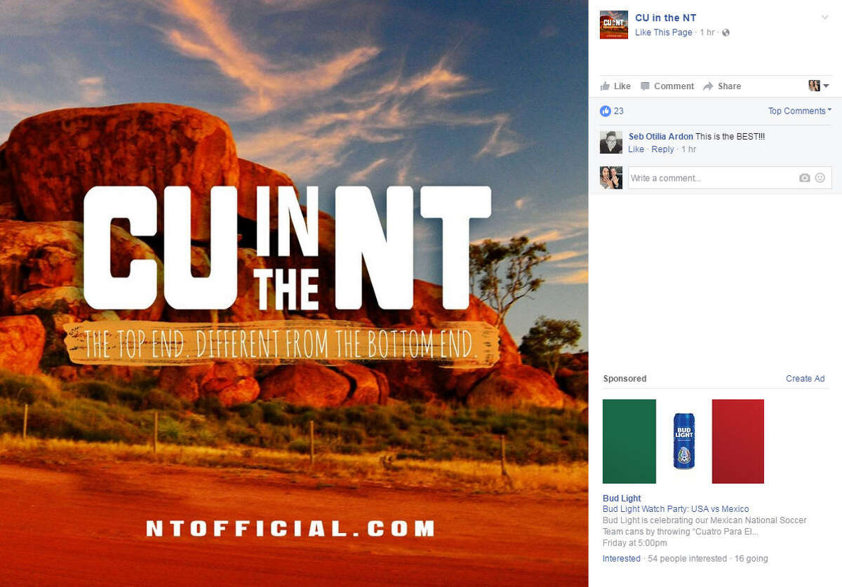 An Australian tourism campaign launched, and the new slogan is causing quite the stir on social media. Photo: CU in the NT Facebook