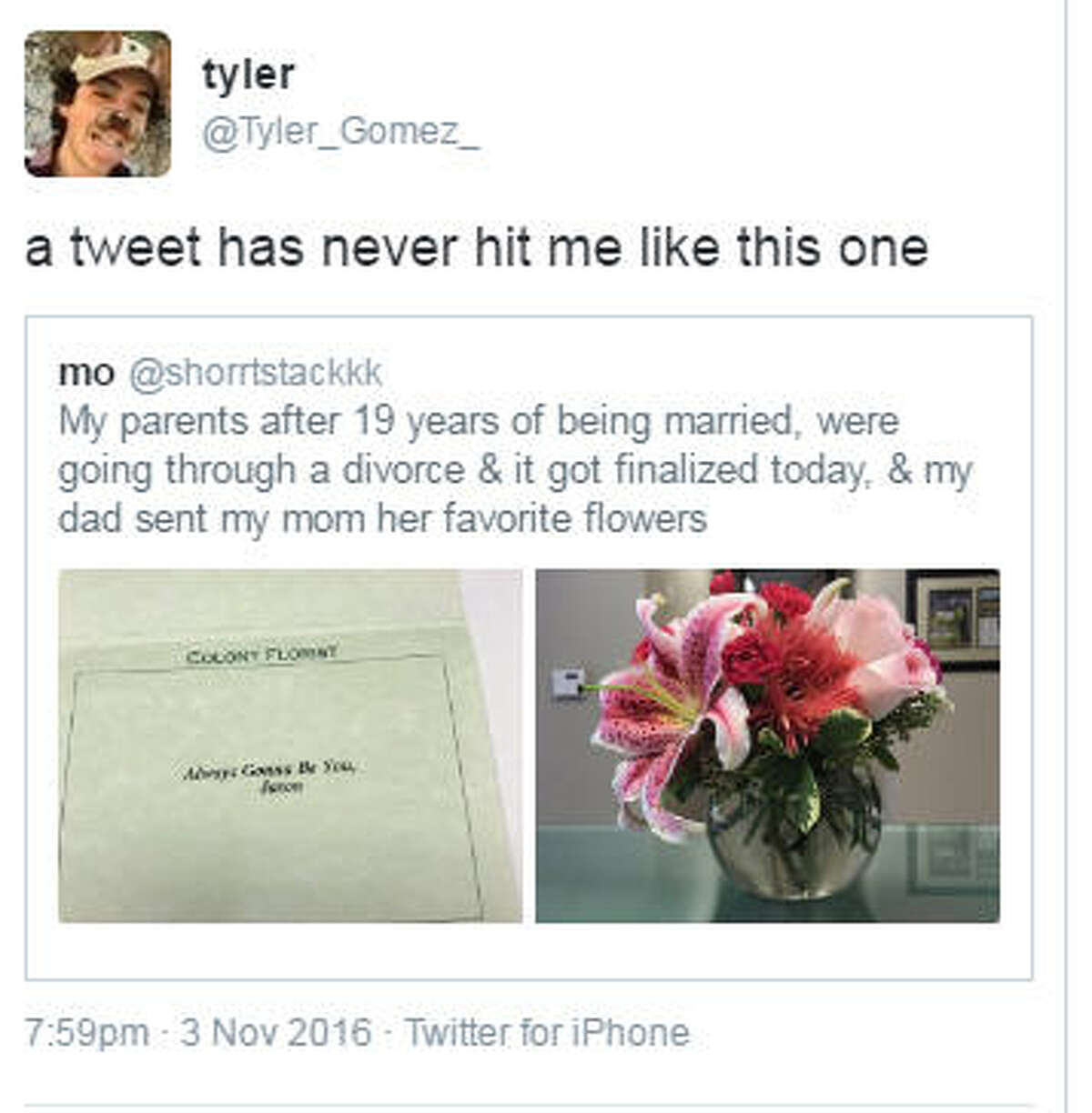 A Pearland teen's tweet with a photo of flowers her dad sent her mom on their divorce day, Nov. 3, 2016, drew reaction worldwide. On Nov. 8, it had received 76,888 retweets and 230,039 likes. Earlier, she asked anyone with a dog to send her pictures because she felt sad and got many in response.