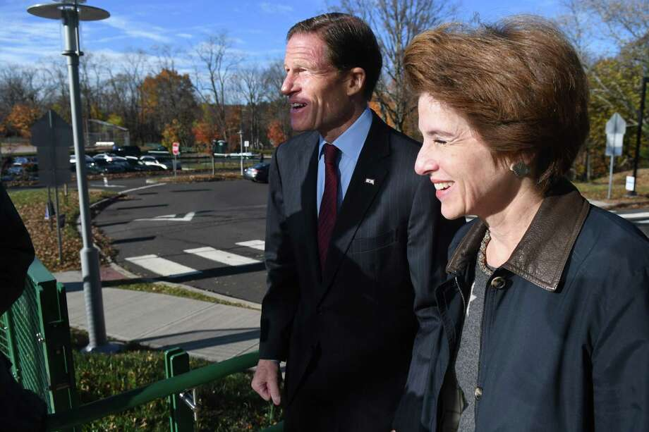 Sen. Richard Blumenthal, D-Conn., and his wife Cynthia arrive at Glenville School to cast their vote in Greenwich, Conn., Nov. 8, 2016. Blumenthal is running for reelection to the office, which he has held since 2011. Photo: Keelin Daly, For Hearst Connecticut Media / Greenwich Time Freelance
