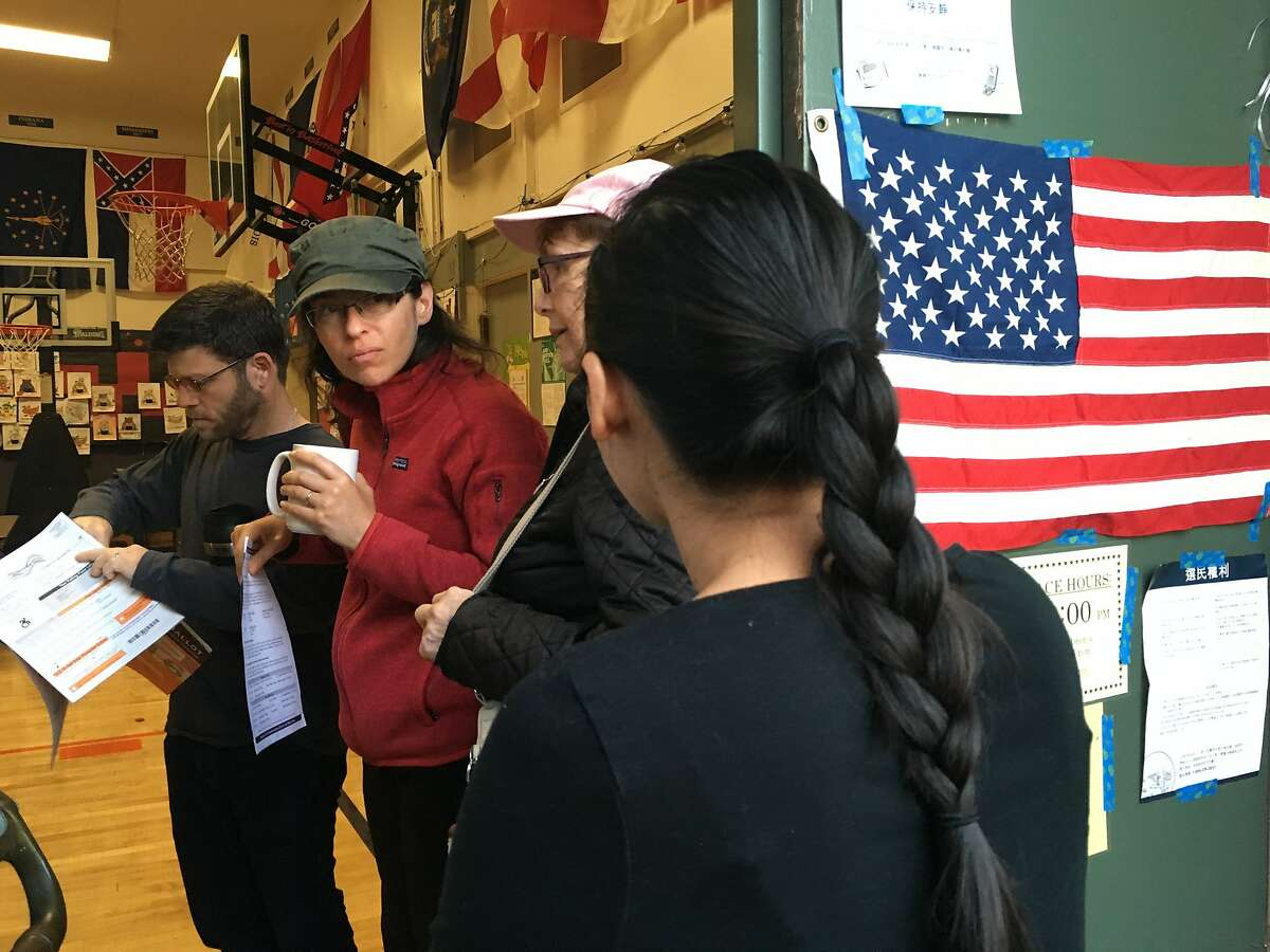 Residents of Burlingame Calif. prepare to vote in the United States Presidential Election at Roosevelt Elementary School just after 7am on Tuesday, November 8, 2016. Photo: Alex Washburn / The Chronicle