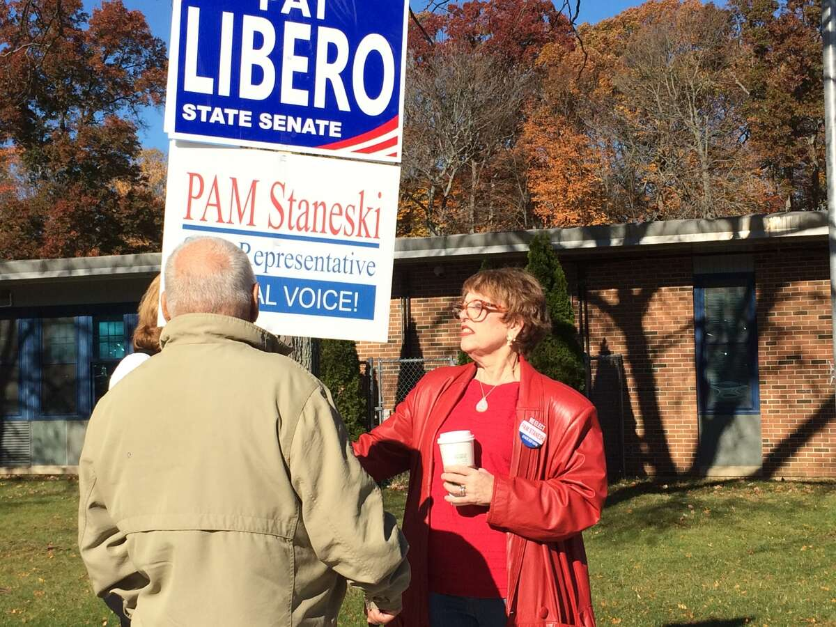 Nanci Seltzer Reyes came down from Waterbury to campaign for her friend, incumbent State Rep. Pam Staneski (R-119) outside John F. Kennedy School in Milford on Tuesday, Nov. 8, 2016.