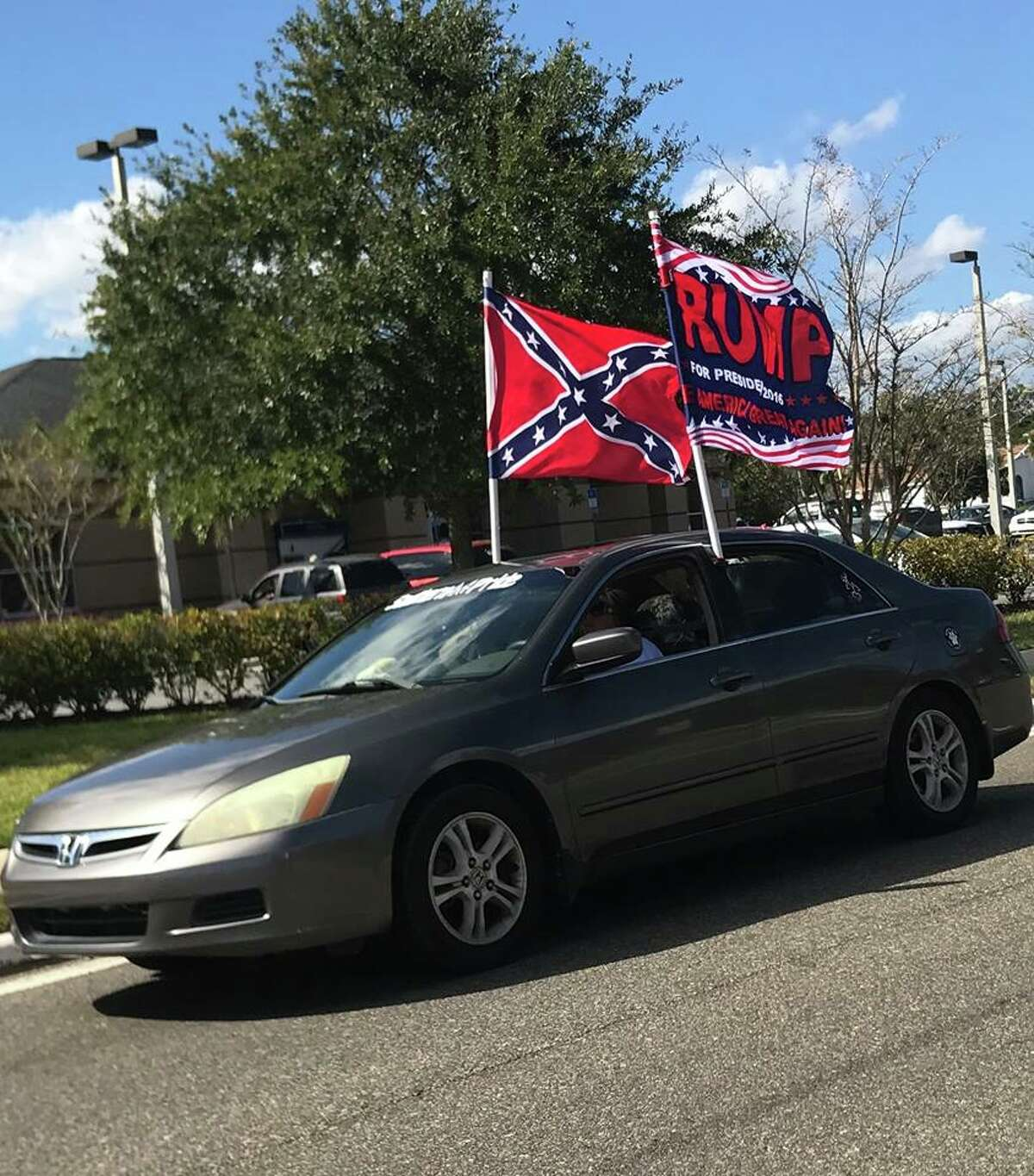 Supporters of GOP presidential nominee Donald J. Trump flew the Confederate battle flag and